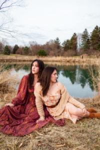 Twins by a lake polaroid